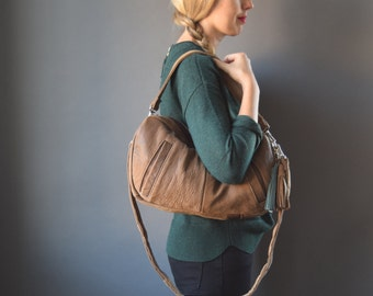 FURROW bag // brown leather slouchy hobo bag