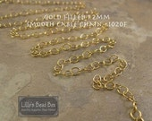BIRTHDAY SALE - Thin Gold Chain, 14k Gold Filled Smooth Cable Chain, By The Foot, 1.2mm Small Gold Jewelry Chain for Necklaces (1020f)