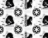 From Camelot Fabrics, Star Wars Rogue One, SW Darth Vader on White, yard