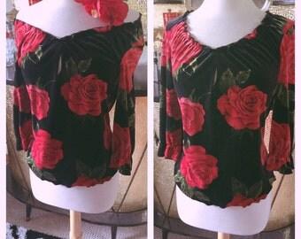 Vintage 1940s style Blouse black red floral velvet pullover PinUp Rockabilly M L 50s