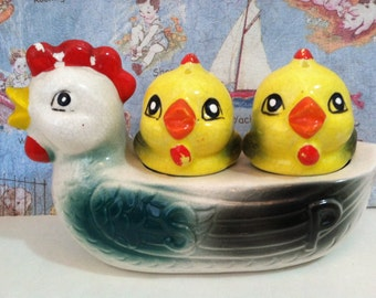 Vintage Two Nesting Chicks and a Mother Hen Salt and Pepper Shakers Set Antique Collectibles or Cake Toppers