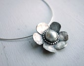 Handmade Sterling Silver and Mabe Pearl Daisy Pendant