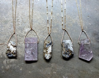 Rough Crystal Pendant - Handmade Crystal Necklaces on Long Chains - Iron Pyrite or Amethyst Crystal Slabs- Layering Necklaces