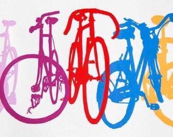 Bicycle Art Print - Bike Stack Multicolored Midi 7