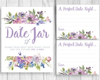 Date Jar 8x10 Printable Bridal Shower or Wedding Date Night Ideas for Mr. & Mrs. Sign and 4x5 Cards - Purple and Lavender Watercolor Flowers