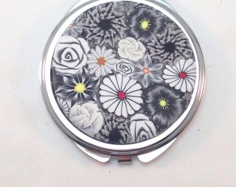 Polymer Clay Embellished Compact Purse Mirror, Black and White Millefiori Floral