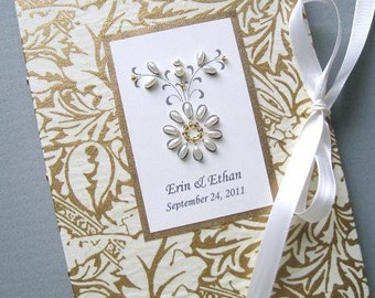 Wedding Photo Album Mother of the Bride Git, Mother of the Groom Gift - Personalized Gold and Ivory Ornate Petite 5x7, 6x7.5