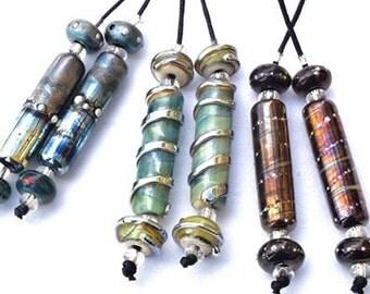 1 Earring Pair *Metallic Mixed Silver Glass Tubes* with 4 Matching Beads Tubes Handmade Lampwork Beads Beadfairy Lampwork SRA
