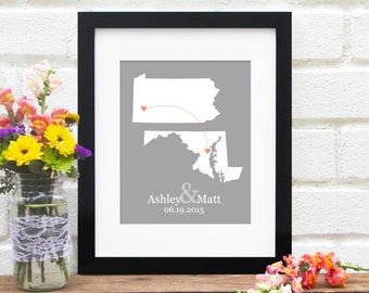Engagement Gift Bridal Shower Gift Wedding Gift Two States Map Personalized New Couple Map State to State Heart Map Gift for Couple