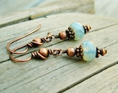 Czech Picasso Glass Beads and Antiqued Copper - wire wrapped ice blue opal glass dangle earrings