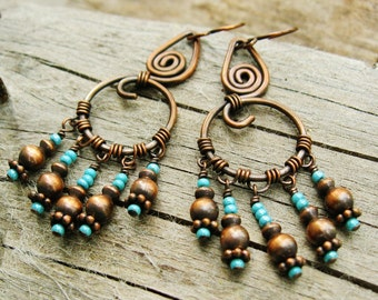 Hammered Copper and Aqua Seed Bead wire wrapped chandelier dangle earrings