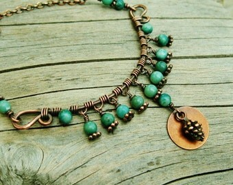 Rain Forest Jasper Wire Wrapped hammered copper necklace with antiqued copper pine cone