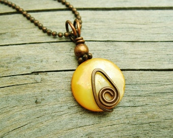 Hammered Copper and Mother of Pearl wire wrapped pendant necklace