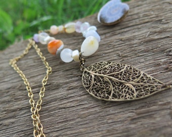 Long Boho Stone Necklace - Leaf Pendant - Neutral - Funky Hippie Jewelry - Good Vibes Crystal Bohemian Jewels - Free People Gypsy