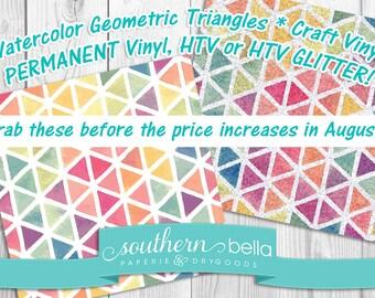 12x12 Watercolor Geometric Triangles * Regular, HTV or HTV Glitter Vinyl * Craft Vinyl * 12x12 Craft Vinyl Sheet*Glitter HTV  Item Wc0003