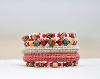 Modern crochet bracelet - wrap bracelet - memory wire bracelet