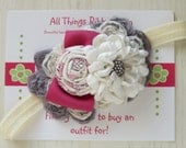Grey, Ivory, Pink Headband for girls shabby flower headband for babies newborn photo prop