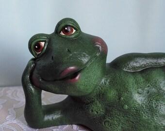 Ceramic Frog Figurine - Frog Garden Decor - Frog for Garden - Frog Yard Art - Frog Garden Statue - Yard Accents - Frog Gift - Outdoor Garden