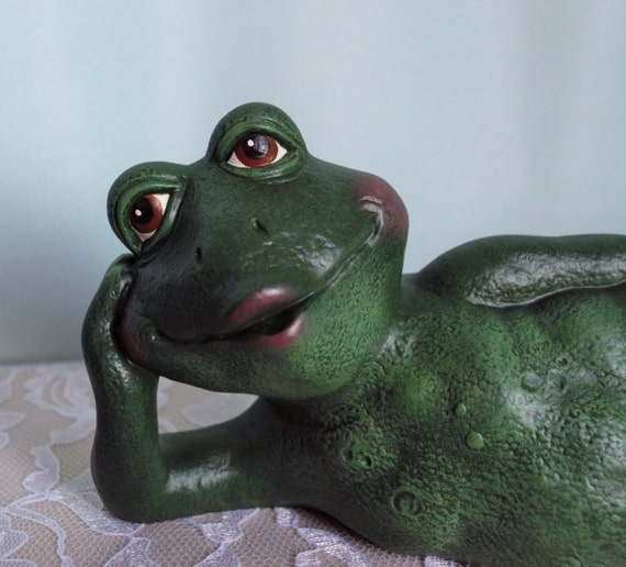 ceramic frog statue cute frog laying down by teresasceramics, ceramic frog garden decor