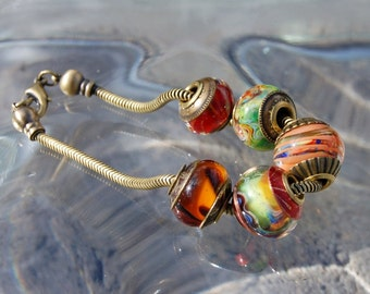 Festival of Color  - Brass Cored 'n Capped koregon Lampwork Big Hole Beads with Add A Bead Chain