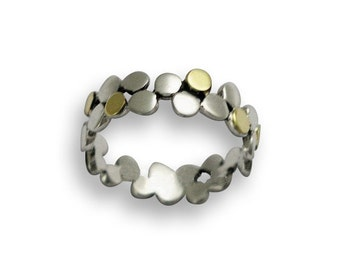Dotted band, white gold band,  white yellow gold ring, dots ring , simple band, thin band, dotted ring, two tones - Yet to discover. RG1175G