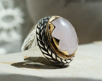 Rose quartz ring, Statement ring, cocktail ring, Sterling silver ring, silver gold ring, gemstone ring, Two tone ring - So in love R2205
