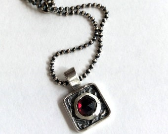 Sterling silver necklace, , gemstone necklace, square pendant. garnet necklace, red stone pendant, simple necklace - Impression N2001