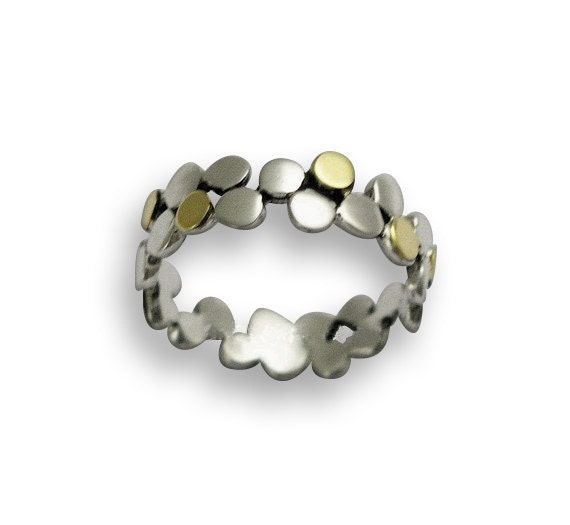 Sterling silver ring, dotted ring, silver gold band, polka dots band, simple band, thin silver band, two toned band - Yet to discover R1175G
