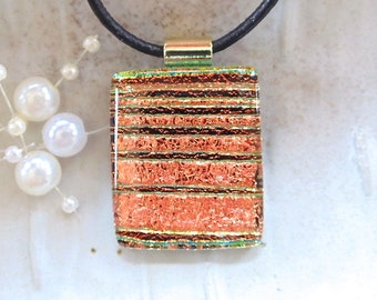 Orange Necklace, Gold, Dichroic Pendant, Glass Pendant, Fused Glass Jewelry, Necklace Included, A4
