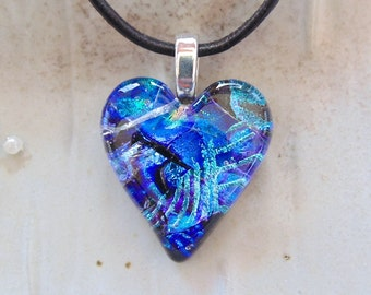 Heart Pendant, Dichroic Jewelry, Necklace, Blue, Necklace Included, One of a Kind, A8