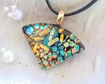 Green Necklace, Gold Dichroic Glass Pendant, Necklace, Fused Glass Jewelry, Necklace Included, One of a Kind, A5