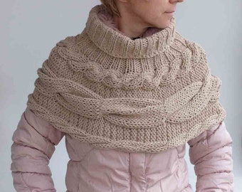 Gift for her-Natural beige circle SCARF--- size S/M , original accessory, hand knitting, ready to ship