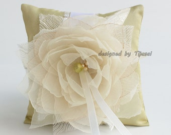 """Wedding ring bearer pillow 5.5""""x5.5"""" with Lily flower and leaves ---ring bearer pillow, wedding rings pillow , wedding pillow, ready to ship"""