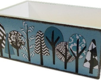 Wedding Guestbook, Recipe, Wedding Card Box, Couples, Bridal Gift, Teal, Black, WhiteTree, Storage, Holds 5x8 Index Cards - READY TO SHIP