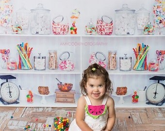 """Backdrop Candy Shop 5x5, Vinyl Photography Backdrop, Sweet Shop Backdrop, Vintage Style Candy Shop Background, """"Like a Kid in a Candy Shop"""""""