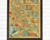 California Love, Vintage California Map, Lithograph, Wall Map Art