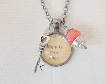 Happily Ever AfterBubble Charm Necklace, Key, Wedding Rehersal