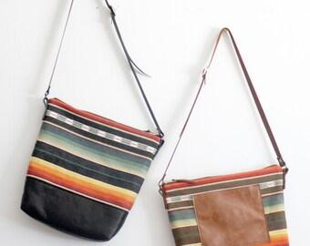 Black Leather Crossbody Bag. Tribal Bag. Ikat Bag. Ethnic Bag.