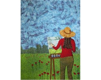 Art Quilt, Fabric Wall Hanging, Fiber Art, Fabric Landscape, Plein Air Painter