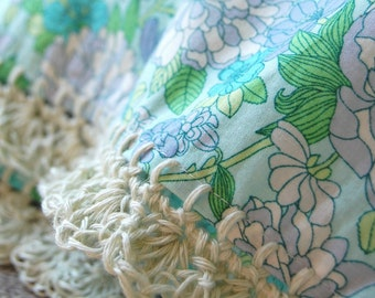 Liberty & Linen pillowcase with crochet trim  -  Dreamy Garden