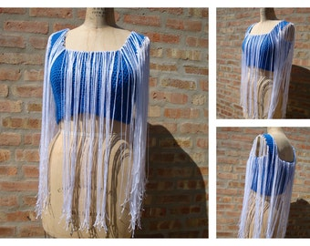 Festival Halter top, Fringed Tank Top, Royal Blue Tank top, gypsy clothing, Hippie top , Boho,Fringed top, Tank top,Custom Colors