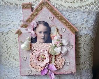 pink - house home - Valentine - large tag - ornament - decor - NO251