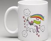 CUSTOMIZED Mug: Cupcake riding a unicorn