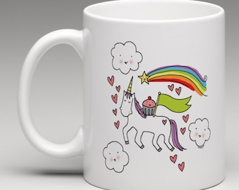 CUSTOMIZED Mug: Cupcake riding a unicorn