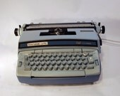 Smith Coronet Super 12 Electric working typewriter Wedgwood blue  and steel blue type writer