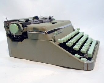 Hermes 2000 working portable manual typewriter midcentury modern retro gray grey green and mint green keys carrying case mint condition