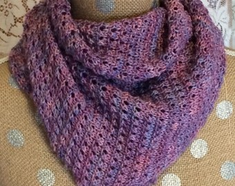 Hand-knitted Wool Scarf or Wrap Pink and Purple
