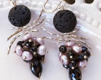 Blush Pink Earrings, Black Spinel Earrings, Blush Pearl Earrings,  Black Garnet Earrings, Pink Pearl Earrings, Black Lava, Spiky Earrings