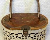 1950's metal and lucite purse/vintage metal purse with lucite handle and lid.