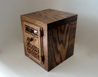 Mission Oak Safe Antique 1877 YALE Post Office Door Copper Bronze Wooden Bank USPS Collectible Man groomsman 8th 22nd Anniversary Retirement